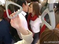 Japanese office girl gets mouth-fucked by a stranger in a bus