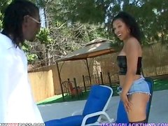 Curly Donna Red rides massive black dick like a wild animal