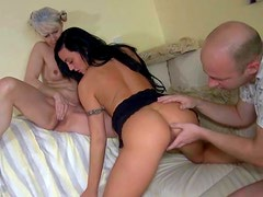 Super hot brunette has threesome with old couple