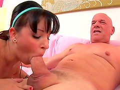 Young beauty pleases older cock