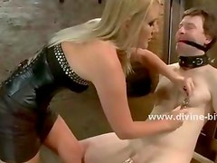 Male slave gets collared and fucked in the ass by another man on his mistress command