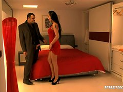 Horny Mela gets fucked in her pussy and ass in a bedroom