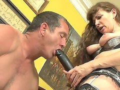 Alexandra Silk is getting wet snatch fucked so hard by Paul Carrigan before putting on strap