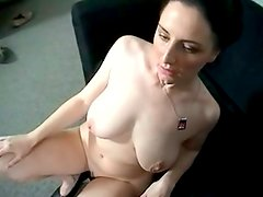 HUmiliated brunette with huge droopy boobs gives a blowjob for sperm