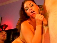Ruined rapacious MILF gives upside down blowjob while getting fucked missionary