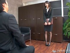 Japanese Businesswoman Aya Eikura Gets On Her Knees to Give Head