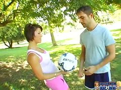 Brunette Kayla Synz gets fucked hard by a soccer player