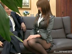 Kinky Japanese Business Lady Mako Higashio Having Oral Sex in the Office