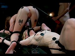 Two busty blondes dominated and toyed in lesbian femdom