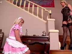 Mistress and her French maid in kinky play
