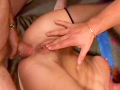 Babes get nailed in anal group sex