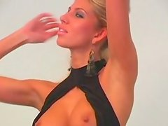 Busty long legged blondie CLARA G poses and masturbates on cam with delight