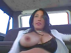 Monster cock madness for a busty brunette in the bang bus
