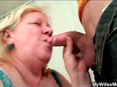 Mature BBW sucks cock after tea
