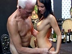 Cute sexy brunette Clarissa gets fucked by the deaf old bastard Johan