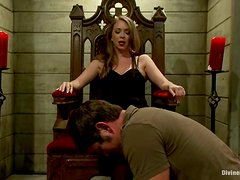 A dude gets humiliated and tormented by a mistress and likes it much