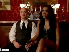 Bdsm guy fucked by black tranny in bed in hotel