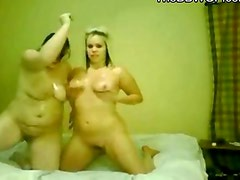 2 Horny Oiled Fat Chubby Girlfriends getting crazy on cam