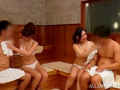 Sex in the sauna with a sassy Japanese siren Reiko