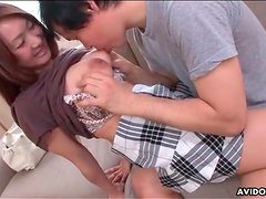 Sucking sexy titties of Japanese schoolgirl