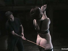Kinky redhead chick gets hog tied and toyed deep in both holes