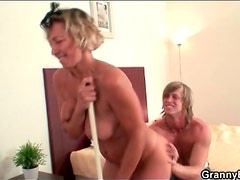Mature cleaning lady stripped and fingered