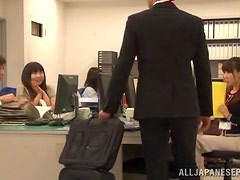 Hot Japanese with Big Boobs Pleasing Her Boss's Cock in the Office