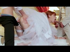 Redhead bride and two guys have sex