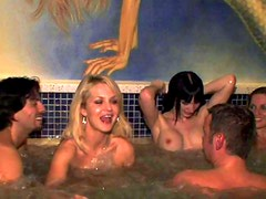 Slutty babes are having orgy in sauna
