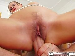 This Sleaze honey gives an Freaky deepthroat sloppy oral-fuck and then has her grunt shaged hard. A man spunks inside her and she licks the cum from his cock.
