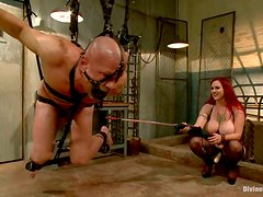 Mz Berlin Face Sitting and Strapon Fucking Guy in Extreme Bondage Session