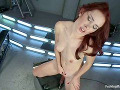 Melody Jordan gets her juicy vagina drilled by a machine
