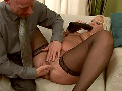 Ugly fat oldie in black stockings gets her anus fucked with a dildo by gaffer