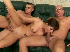 Lewd amateur chick is screwed hard in provocative MMF threesome fuck clip