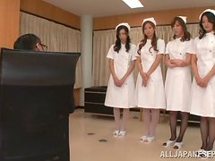 Blowjobs and Rimjobs by Four Hot Japanese Nurses to One Cock