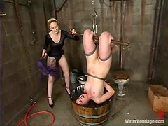 Horny Lorelei Lee gets whipped and toyed in water bondage vid