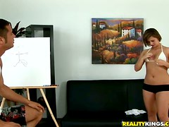 Banging Bad Artist Kinzie Parker's Shaved Pussy on the Couch