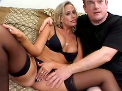 Buxom filthy blondie Kylie Worthy provides white and black dudes with blowjobs
