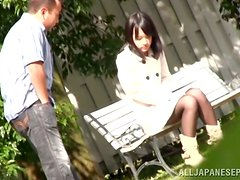 Banging Skinny Japanese Mikako Abe Outdoors in the Garden