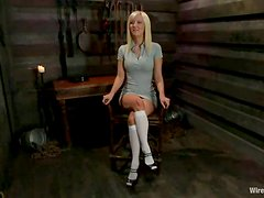 Perfect blonde girl gets pounded with a strap-on by a mistress