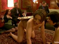 Bonded chicks get clothespinned and toyed with a vibrator