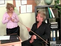 Sexy old teacher sucks his hard young cock