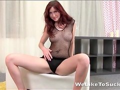 Redhead babe with perfect perky tits fondled
