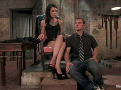 Randy Kinky Brunette Simone Kross Dominates Guy and Masturbates