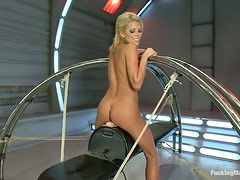 Blonde babe with perfect tits gets toyed in close-up vid