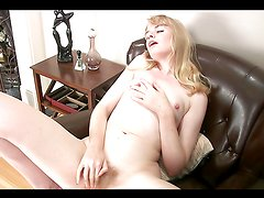 Horny blonde babe fingers her fucking pussy!