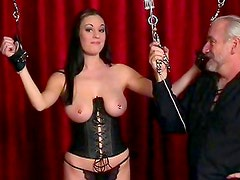 Busty slut in naughty BDSM porn