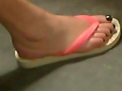 Candid Feet Blond BBW in train