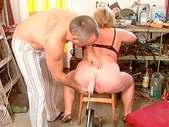Old ruined BBW gets her moist vagina dildo fucked by kinky dad