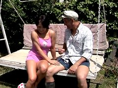 Teen brunette chick seduces old grandpa for sex outdoor